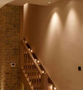 Lighting for a residential staircase using HX dimmer control system by Futronix